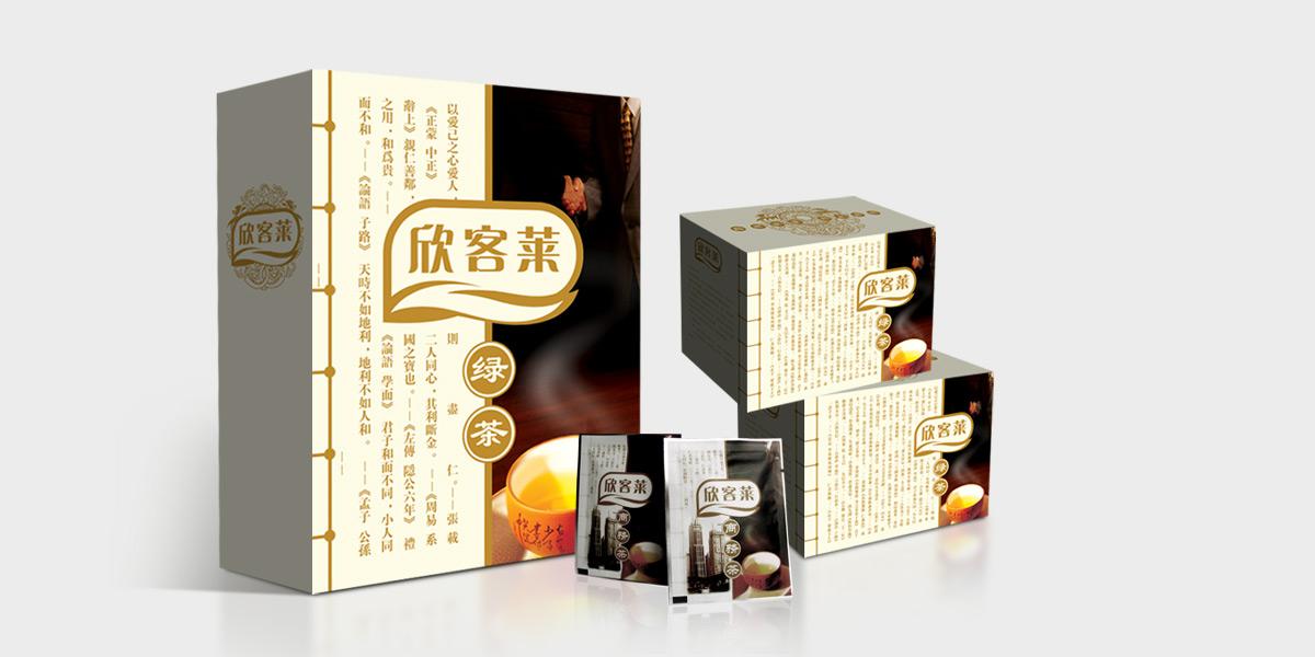 客户:上海欣客莱有限公司 服务内容:包装策划设计 上海商务茶包装设计,高档茶叶礼盒包装设计,武夷山茶叶包装设计,上海茶叶包装设计公司 欣客莱商务茶是上海田坊食品公司旗下品牌,是国内比较早的推出高端商务袋泡茶的企业,其高品质的茶叶及配套的包装设计赢得市场的广泛关注,在传统的袋泡茶的市场中找到了适合自己的定位,亘一设计为其提供了整体产品形象包装。包装的色彩是受商品属性的制约,色彩本身也有它的属性。所以用色要慎重,要力求少而精,简洁明快。或清新淡雅,或华丽动人,或质朴自然,要考虑到消费者的习俗和欣赏习惯,也要考